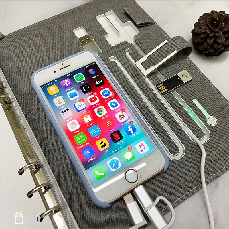 Sổ kèm cổng sạc Iphone và cổng sạc Type C